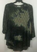 Adore Wmn's tunic/dress, size XL, Long sleeve, sequins, black/multi, Boho chic