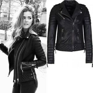 Women Vogue Quilted Motorcycle Jacket Cropped Short Moto Best Leather Jacket