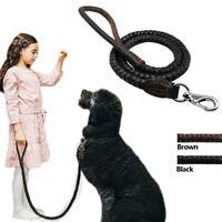 Heavy Duty Braided Rope Leather Medium Large Dog Leash Soft Pet Leads Handcraft