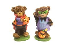 "Set of 2 Greenbrier Halloween Bears in Costume Boy and Girl Vampire 5.5"" Resin"