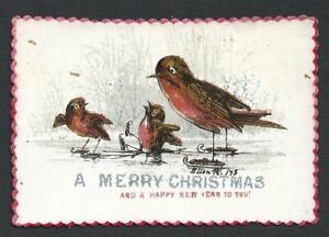 Y44 - ANTHROPOMORPHIC ROBINS SKATING - HAND TINTED VICTORIAN XMAS CARD - 1873