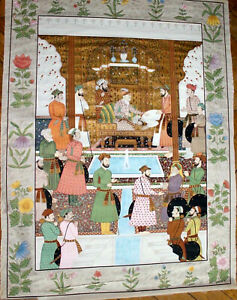 """LARGE ANTIQUE SILK PAINTING DURBAR OF THE MUGHAL EMPEROR AURANGZEB 48"""" x 36"""""""