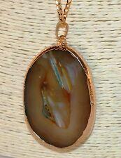 """Brown & Verde Ágata Druzy Geode Colgante de piedras preciosas en bruto centro 26"""" collar de oro 21"""