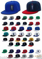 LOT OF 6  Blank Flat Bill Snapback Caps Hats Solid Two Tone DECKY WHOLESALE BULK