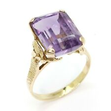 Amethyst 18ct Yellow Gold Fancy Dress Ring - Size T 1/2