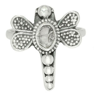 Dragonfly - Herkimer Diamond, USA 925 Silver Ring Jewelry s.7 BR74951