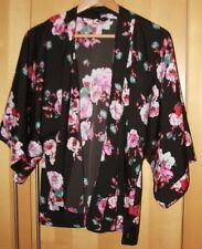 New Look black with large floral print, silky feel kimono - size 10