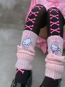 Japanese Girls Lolita Winter Leg Warmers Socks Cute Kitty Cat Pink Kawaii Gloves