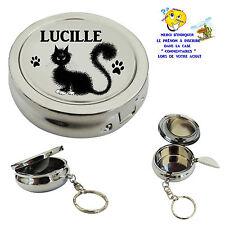 cendrier de poche porte clé chat personnalisable avec prénom au choix réf 02