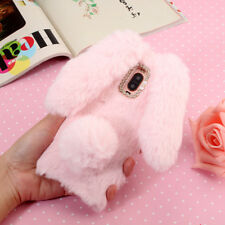Luxury Supple Long-ear Rabbit Fur Soft Gel TPU Bing Crystal Phone Case Cover
