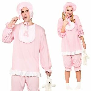 Adult Cute Cry Baby Costume Pink Romper Suit Stag Hen Fancy Dress Outfit