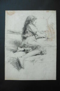 FRENCH SCHOOL 19thC - YOUNG GIPSY WOMAN IN LANDSCAPE - STUNNING CHARCOAL