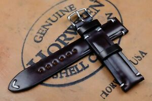 Horween Shell Cordovan No.8 Burgundy Half Padded Leather Watch Strap