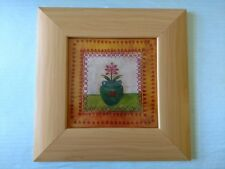 "Wide wood-look blonde frame of bordered flower pot homespun print 13"" square"