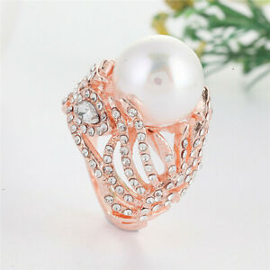 New Fashion Women Rose Gold White Pearl Ring Wedding Party Jewelry Gifts Sz 6-10