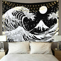 Wall Tapestry Black and White Wall Hanging The Great Wave Tapestries Home Decor