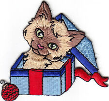 Christmas Kitten Iron On Patch Cats Christmas Holidays Gifts