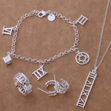 beautiful Fashion 925 Sterling silver Ring Bracelet Earring Necklace set AT115