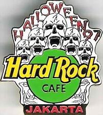 Hard Rock Cafe JAKARTA 1997 HALLOWEEN PIN - 5 Screaming SKULLS with HRC LOGO