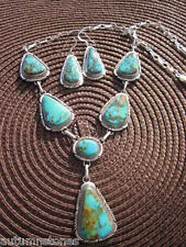 "20""  ELOUISE KEE Navajo Sterling Vibrant ROYSTEN TURQUOISE Necklace Earrings Set"