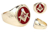 MASONIC MASON SILVER COLOR SCARLET RED RING ALL SIZES