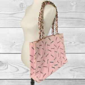 Vintage Authentic Chanel Pink Canvas Chain Tote Purse