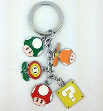 Super Mario Metal Keychain 1-Up Mushroom ? Block Fire Flower Figure Keyring