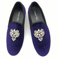 Men Purple Velvet Slippers Loafers Wedding Shoes Slip on Smoking Flats US 11 New