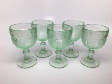 "Vtg TIARA SANDWICH LIGHT CHANTILLY GREEN - Set of 5 WINE GLASSES 4 1/8"""