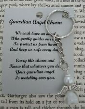 HANDCRAFTED GUARDIAN ANGEL CHARMS KEYRING BAGCHARM TEACHER GIFT WHITE