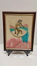 """Vtg Carl Queen Metal & Suede Framed Desert Indian Playin Music Folk Art10""""X13.5"""""""