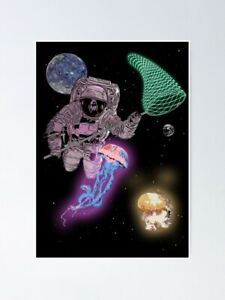 Astronaut on jellyfish hunts Goa party Poster - BlackLight Poster - Poster Print