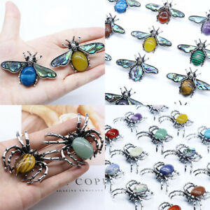 Spider & Bee Insect Natural Stone Beaded Aged Abalone Pendant Brooch Necklace