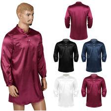 Sexy Men Daily Pajamas Satin Sleepwear Loose Pullover Nightshirt Silky Nightwear