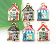 Set 6 Main Street SHOPS Charms, Colorful Gold Plated Enamel Charm Collection Lot