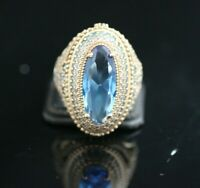OTTOMAN COLLECTION AQUA MARINE STERLING SILVER 925K BRONZ RING SIZE 7,8,9