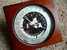 SEIKO QUARTZ WORLD DESK CLOCK - AIRPLANE SECOND HAND - Mahogany Frame