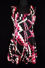 Raro Vintage Francés 600ms vivo negro, blanco y rosa Poliéster Vestido Mini