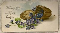 Vintage Antique Christmas Postcard card Wishing you a Life violets compliments