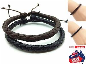 Adjustable Fashion Men Women PU Leather Bracelet Wristband Bangle Punk 1pc