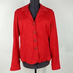 LAL Live A Little Red Button Down Long Sleeve Collared Jacket Womes Size XL