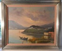 Vintage 1970s Framed Italian Landscape Oil Painting by A. Pasini Lake Mountains