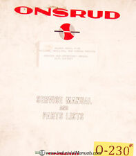 Onsrud F-36, Mill Service Parts Operations and Wiring Manual Year (1983)