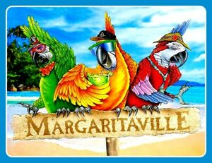 "4.75"" Jimmy Buffett Margaritaville vinyl sticker. Parrot Head decal for laptop."