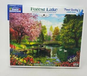 """White Mountain 1000 piece Puzzle """"Forest Lake"""" #1274"""