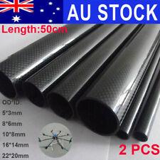 5-22mm OD 2PCS 3K Carbon Fiber Tube Pipe Glossy Plain Surface Roll Wrapped 50cm