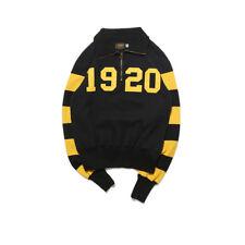 1920 Half Zip Stripe Sweater Motorcycle Biker Jacket Vintage Men's Racing Jersey