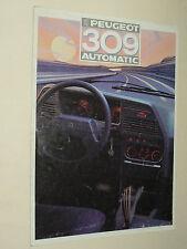 Prospectus PEUGEOT 309 AUTOMATIC  1987 catalogue  brochure prospekt car auto