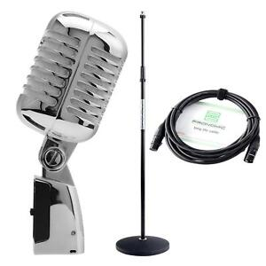 DJ PA Vintage Gesangs Mikrofon Retro Mikro Live Mic Micro Ständer Kabel Set SL