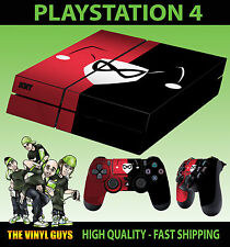 PS4 Skin Harley Quinn Logo Red Black Puddin Sticker + Controller Decals LAY FLAT